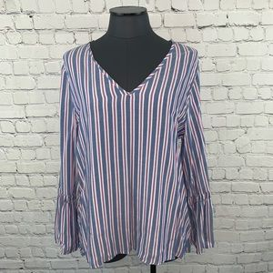 Anthropologie Pleione Bell Sleeve Striped Blouse